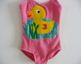 Duck Leotard - Birthday Leotard - Toddler Leotard - Petting Zoo Birthday - Gymnastics Leotard- Personalized Leotard