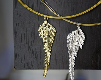 Fern Leaf Necklace, Leaf Pendant, Cable Necklace, Multi Strand Necklace, Modern Pendant, Natural Necklace, Gift for Women, Gift for Her