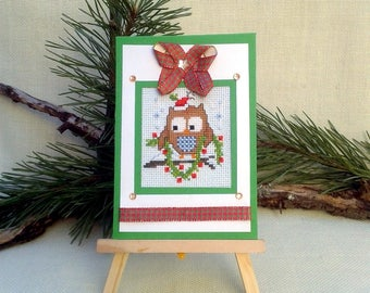 Cross stitch Christmas card owl embroidery, Funny Christmas owl, Funny Christmas owl, Cute Christmas gift, Christmas embroidered card