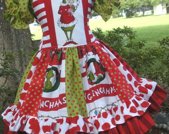 Made to Order Custom Boutique Grinch Whoville Seuss Christmas Strip Style Dress Girl Sizes 2 3 4 5 6 7 or 8