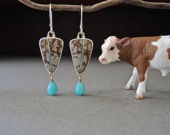 Turquoise Earrings, Nevada Boulder Turquoise, Dangle Earrings, Amazonite, Sterling SIlver, 14kt Gold