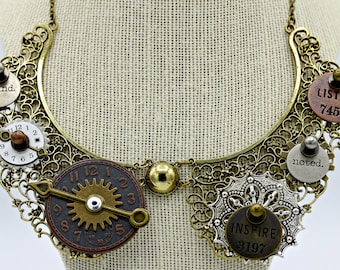 Steampunk Industrial Brass Bib False Collar Scroll Necklace Pendant on 14 Inch Brass Chain