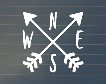 DECAL | Compass Car Decal, Compass Decal, North South East West Sticker, Adventure Decal, Compass Sticker, Car Decal, Adventure Stickers