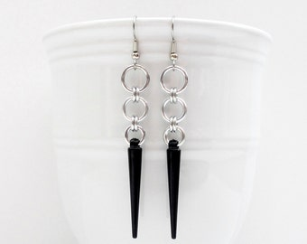 Black spike earrings, chainmail earrings, edgy dangle earrings