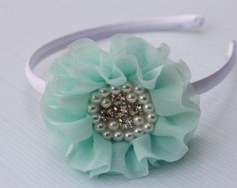 Aqua headband, girls mint headband, satin headband, toddler headband, mint flower girl headband, girls headband, hard headband