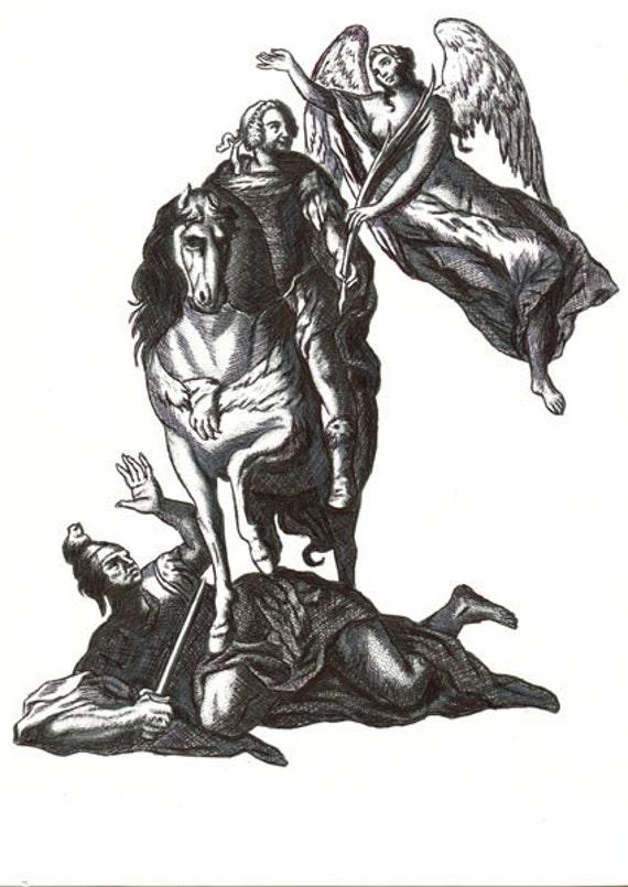 "ORIGINAL ART DRAWING guardian angel drawing war art, man horse soldier pen ink illustrations 8.5"" x 11"" forgive peace fantasy artwork"