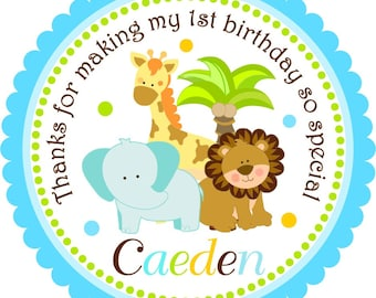 Safari Stickers, Jungle Safari Animals, Baby Safari Stickers, Jungle Birthday or Baby Shower -Set of 12
