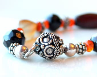carnelian sterling bracelet gift.  magnetic clasp. agate. beaded stacking jewelry.