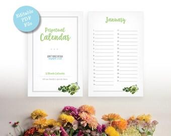 Printable Perpetual Calendar - Green Leaf Editable Pdf Calendar - Eternal Birthday, Anniversary Calendar - Instant Download PDF