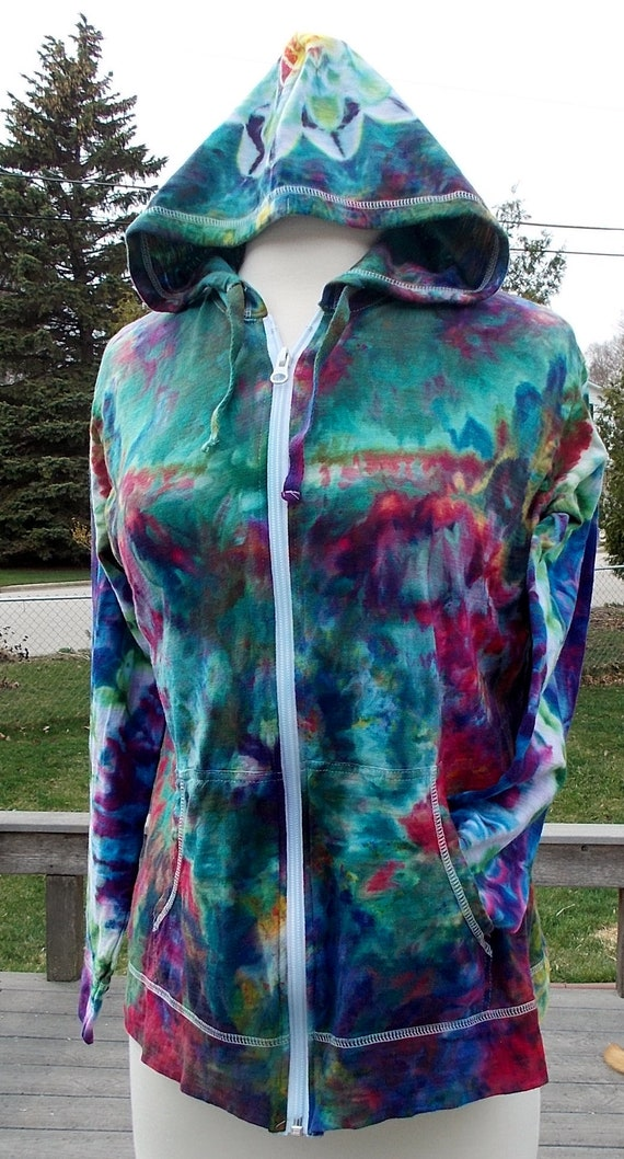 Ladies 14 Lightweight Tie Dye Ice Dye Cotton Zip Hoodie Large
