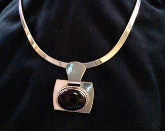 Sterling 925 Silver Onyx Pendant (1975?)