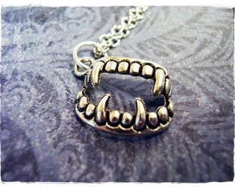 Silver Vampire Fangs Necklace - Antique Pewter Vampire Fangs Charm on a Delicate Silver Plated Cable Chain or Charm Only