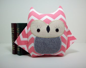 Owl pillow plush toy in pink chevron with grey, pink chevron owl toy, pink chevron nursery decor, owl nursery decor, owl stuffed toy