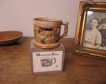 Vintage Mustache Stein in original box. Drinking Stein. Right handed Mustache Stein.