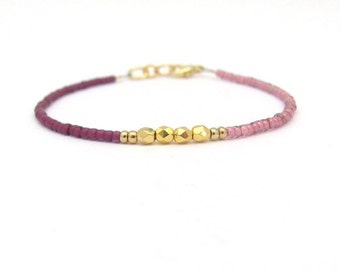 Raspberry Bracelet, Color Block, Seed Bead Bracelet, Friendship Bracelet, Bridesmaid Gift, Spring Easter, Beaded Bracelet, Berry Pink