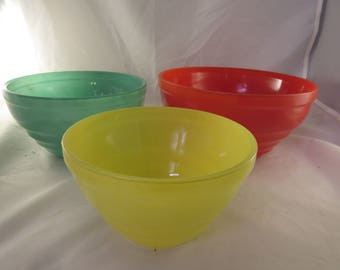Vintage 1950's Jeannette Glass Mixing Bowl Set Never Used in Box Multi Colored