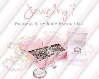 "Banner Set - Shop banner set - Premade Banner Set - Graphic Banners - Facebook Cover - Avatars - Bisiness Card - "" Jewelry 7"""