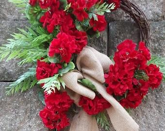 Red Artificial Spring / Summer Door Wreath, Door Wreath, Red Geraniums, Geranium Wreath