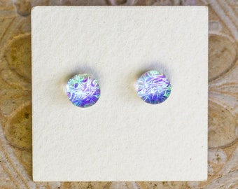 Dichroic Glass Earrings , Petite, Green/Violet DGE-1419