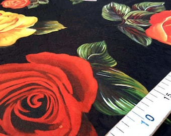 Black and red roses jacquard fabric #2172