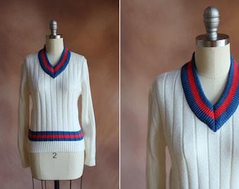 j.g. de Vintage 1980 hook blanc pull côtelé bleu & rouge s garniture / taille - m