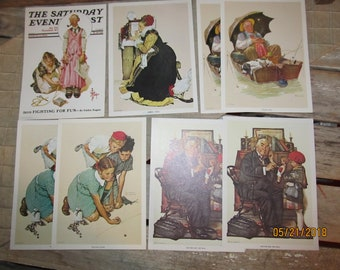 9 Vintage 1972 CPC/DAC Norman Rockwell 5 x 7 Litho Cards-Doctor and Doll-Knuckles Down-The Runaway-Summer Stock-Golden Days-Saturday Post