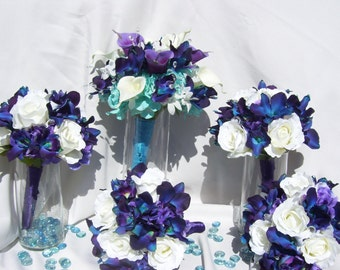 Brenda  Bridesmaids Bouquets with Blue Orchids, Off White Open Roses,Purple Hydrangeas