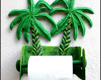 Toilet Paper Holder - Painted Metal Art, Banana Tree - Tropical Bathroom Decor - Toilet Tissue Holder - Tropical Decor, Wall Decor - 990 -TP