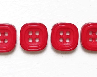 new stock bright red plastic square buttons with stacked apperance--matching lot of 4