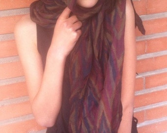 Vintage scarf // colored dark: yellow, red, khaki // former(old) rectangular scarf // scarf woman // French vintage fashion