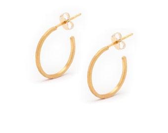 Small 18k Gold Vermeil Hoop Earrings - Gold Hoops - Hammered Gold Hoop Earrings