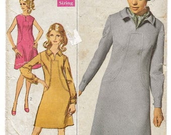 """A Mod Sleeveless or Long Sleeve, A-Line Dress with Neckline/Belt Variations Sewing Pattern for Women: Size 14, Bust 36"""" • Simplicity 7849"""