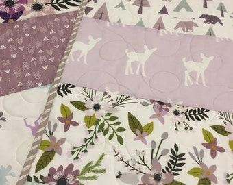 Modern baby girl quilt, Floral woodland, baby girl bedding, moose fawn bear, lavender mint gray grey floral, woodland nursery, toddler quilt