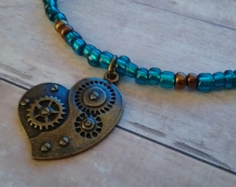 Steam Punk Mechanical Heart Pendant Necklace