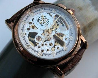 Luxury Copper Mechanical Wrist Watch, Leather Wristband, Automatic Men's Watch, Groomsmen Gift - Item MWA57-cp