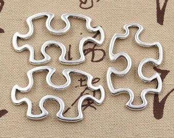 4 Puzzle Piece Charms Large Silver Tone Autism Awareness Charms Jigsaw Puzzle Piece Charms Charm Bracelet Bangle Bracelet Pendants #910