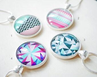 Geometric modern cabochon necklace