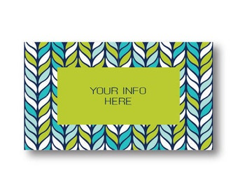Blue Green Leaf Modern Pre Made Business Card Printable Instant Download Personalized Business Card Template