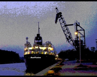 Port Colborne, Welland Canal, Loading Dock, Great Lakes Shipping, Nautical, Industrial, Night Photography, Silhouette, 8x10, 8.5x11