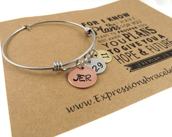 Jeremiah 29:11 - Christian Jewelry - Hand Stamped Jewelry - Scripture Jewelry - Hand Stamped Bangle Bracelet - Expressions Bracelets