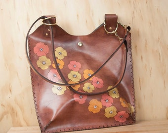 Leather Tote - Poppy Garden pattern - leather with flowers in yellow, orange, pink and antique mahogany - Handmade leather purse handbag