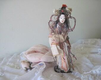 Old Vintage Papier Mache Ornate Chinese Oriental Opera Doll c1940