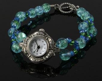 Handmade Blue-Green Beaded Silver Watch