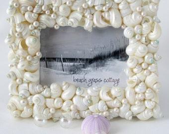 Seashell Picture Frame, Beach Decor, Nautical Decor Shell Frame, Wedding Seashell Frame, Shell Picture Frame, Turbo Shells, 8x10 - #TSF810
