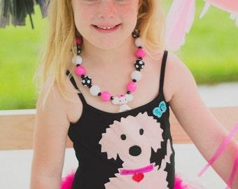 DOG LEOTARD TUTU- Pink Chenille Puppy - Puppy Tutu -Puppy Birthday Tutu - Puppy Dress - Personalized with name and Birthday Number