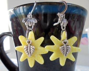 Yellow Jade Sunburst Earrings (4271)