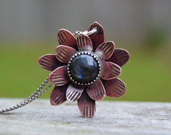Garden Flower . Copper . Labradorite Necklace. Handmade . Fine Silver . Rustic . Earthy . Boho .