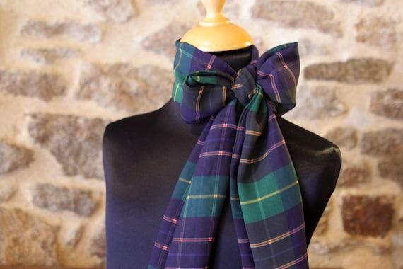 Ascot tie women, women blue green Tartan viscose chiffon butterfly knot. Retro style accessory