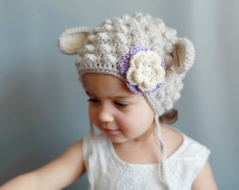 Lamb Hat - baby hat, baby lamb hat, Toddler lamb hat, Sheep hat, Toddler hat, Toddler Halloween costume, winter hat for girls