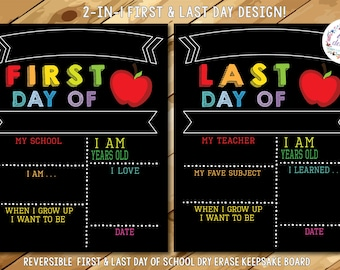 Reusable First & Last Day of School Chalkboard, First Day of School Sign, First and Last Day of School Sign, Back to School Chalkboard